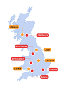 Map of office fruit delivery locations